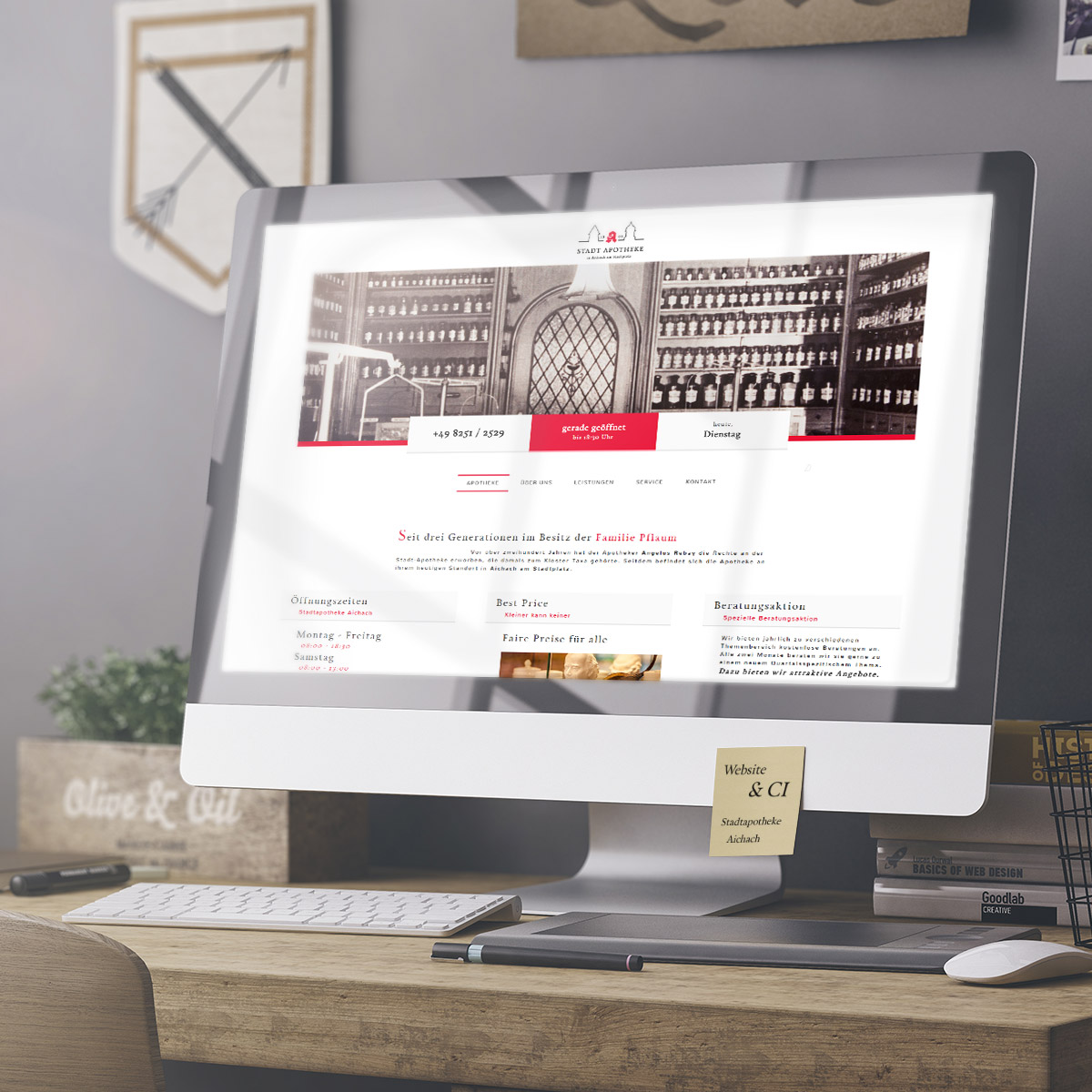 Stadtapotheke Aichach, Branding, Screendesign, Website, Responsive Design, Photography, Aichach